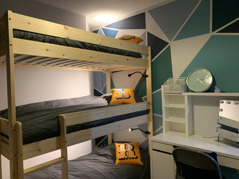 Bedroom with painted walls